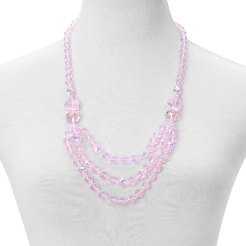 Pink Colour Necklace (Size 26) and Stretchable Bracelet (Size 6.50) in Silver Tone