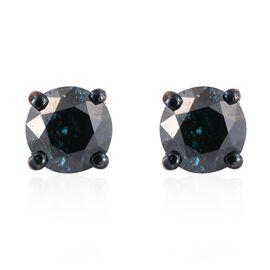 9K White Gold 0.50 Carat Blue Diamond I3/I- J Stud Earrings (with Push Back)