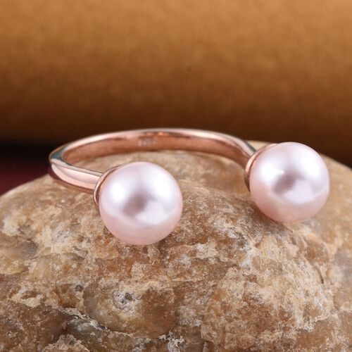 J Francis Crystal from Swarovski - Rosaline Pearl (Rnd) Open Ring in 14K Rose Gold Overlay Sterling Silver