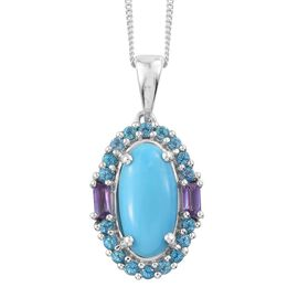 Arizona Sleeping Beauty Turquoise (Ovl), Signity Pariaba Topaz and Amethyst Pendant with Chain in Platinum Overlay Sterling Silver 3.750 Ct.