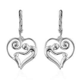 Platinum Overlay Sterling Silver Lever Back Earrings, Silver wt 4.23 Gms.