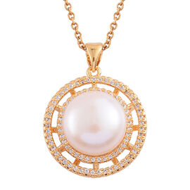 (Option 3) Fresh Water White Pearl and Simulated White Diamond Pendant With Chain (Size 18) in Gold Tone With Stainless Steel