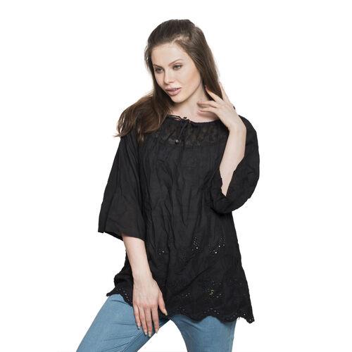 100% Cotton - Italian Punto Tagliato Technique Black Colour Summer Top (Free Size)