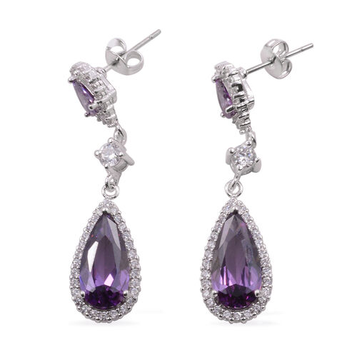 AAA Simulated Amethyst (Pear), Simulated Diamond Drop Earrings (with Push Back) in Silver Bond