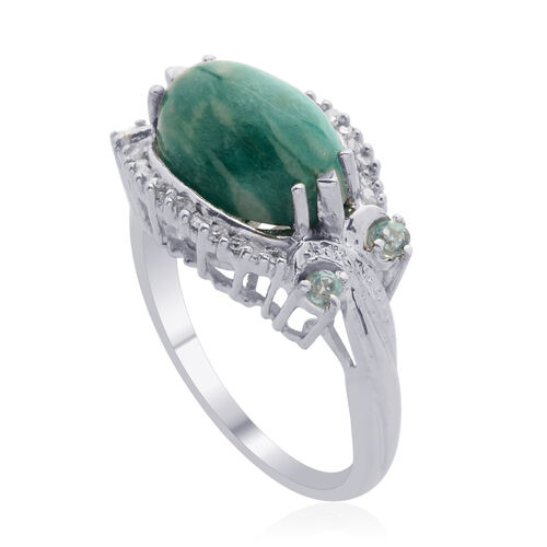 Russian Amazonite (Ovl 3.50 Ct), Paraibe Apatite and Diamond Ring in Platinum Overlay Sterling Silver 3.750 Ct.