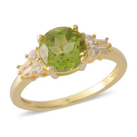 AA Hebei Peridot (Rnd 2.00 Ct), White Topaz Ring in Yellow Gold Overlay Sterling Silver 2.250 Ct.