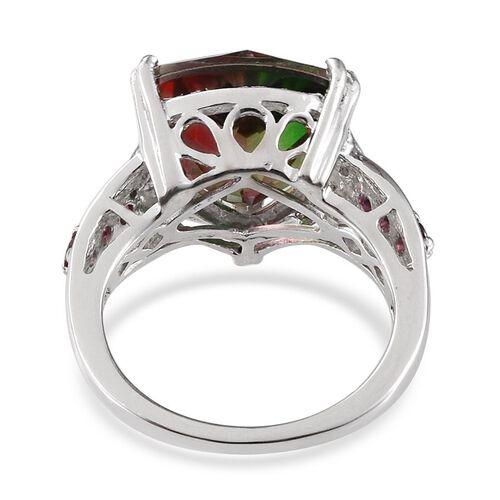 Tourmaline Colour Quartz (Trl 5.50 Ct), Rhodolite Garnet and Diamond Ring in Platinum Overlay Sterling Silver 6.000 Ct.