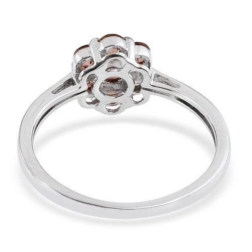 Jenipapo Andalusite (Rnd) 7 Stone Floral Ring in Platinum Overlay Sterling Silver 0.900 Ct.