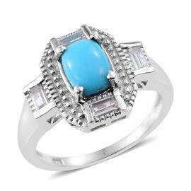Arizona Sleeping Beauty Turquoise (Cush 1.05 Ct), White Topaz Art Deco Ring in Platinum Overlay Sterling Silver 1.500 Ct.