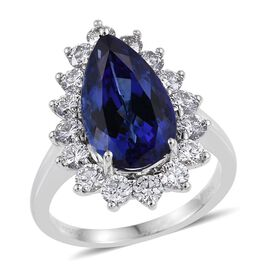 RHAPSODY 950 Platinum AAAA Tanzanite (Pear 6.50 Ct), Diamond (VS E-F) Engagement Ring 7.830 Ct.
