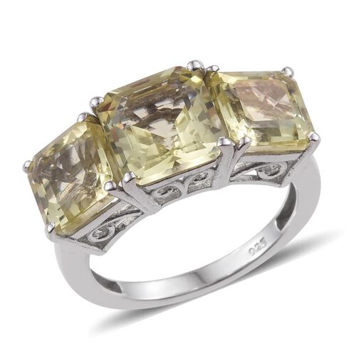 Ascher Cut Natural Ouro Verde Quartz (Oct 2.35 Ct) 3 Stone Ring in Platinum Overlay Sterling Silver 5.750 Ct.