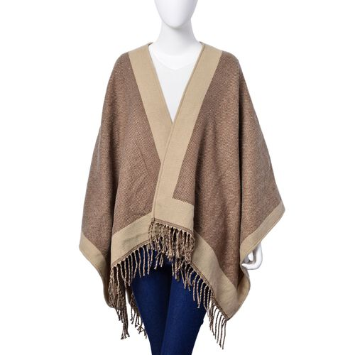 Chocolate and Coffee Colour Poncho with Fringes (Size 120x80 Cm)