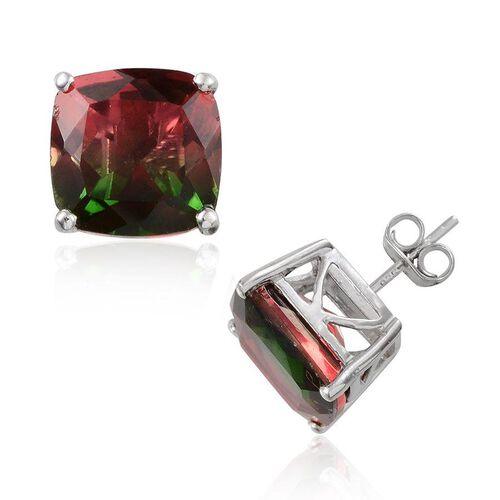 Tourmaline Colour Quartz (Cush) Stud Earrings (with Push Back) in Platinum Overlay Sterling Silver 14.000 Ct.