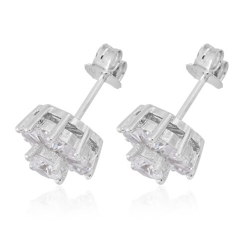 ELANZA AAA Simulated White Diamond (Rnd) Stud Earrings (with Push Back) in Rhodium Plated Sterling Silver