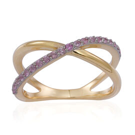 Pink Sapphire (Rnd) Criss Cross Ring in 14K Gold Overlay Sterling Silver 0.500 Ct.