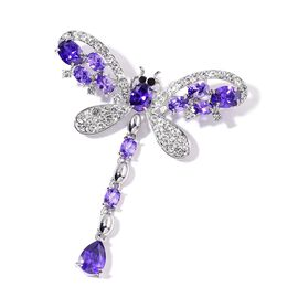 AAA Simulated Amethyst, White and Black Austrian Crystal Dragonfly Brooch in Silver Tone
