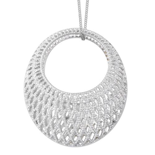 14K Gold and Platinum Overlay Sterling Silver Pendant With Chain.Silver Wt 12.50 Gms