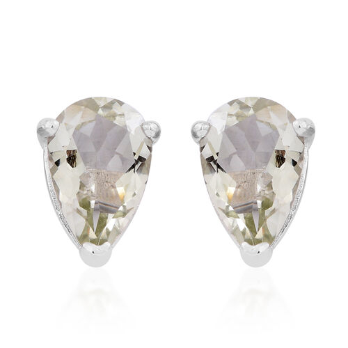 Green Amethyst (Pear) Stud Earrings (with Push Back) in Rhodium Plated Sterling Silver 5.000 Ct.