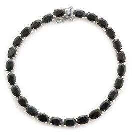 Black Sapphire (Ovl) Bracelet (Size 7.5) in Platinum Overlay Sterling Silver 18.000 Ct.