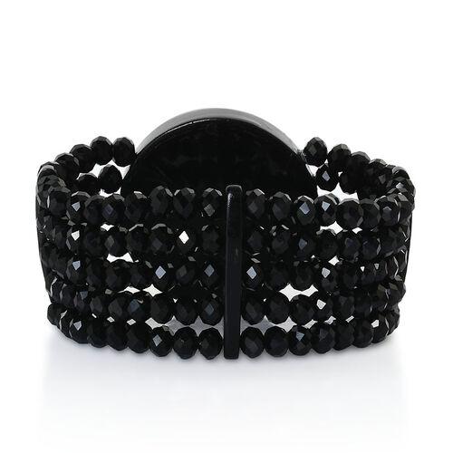 Pink Cameo, Black Glass Bracelet (Size 7.5)