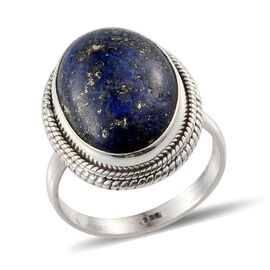 Jewels of India Lapis Lazuli (Ovl) Solitaire Ring in Sterling Silver 10.330 Ct.