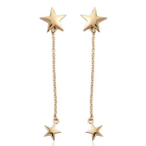 Silver Star Chain Ear Cuff Earrings in Gold Overlay (with Push Back), Silver wt. 3.69 Gms.