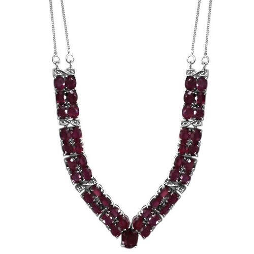 African Ruby (Ovl 1.75 Ct) Necklace (Size 18) in Rhodium Plated Sterling Silver 25.070 Ct.