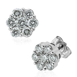 RHAPSODY 950 Platinum IGI Certified Diamond (Rnd) (VS/E-F) Floral Stud Earrings (with Screw Back) 0.750 Ct.