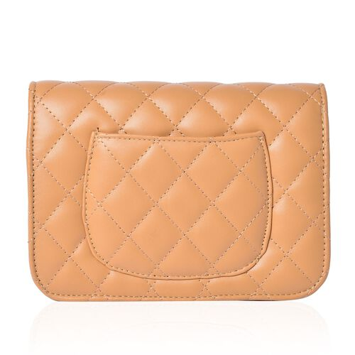 Diamond Quilted Light Beige Colour Crossbody Bag with External Pocket and Chain Strap (Size 20x13x8 Cm)