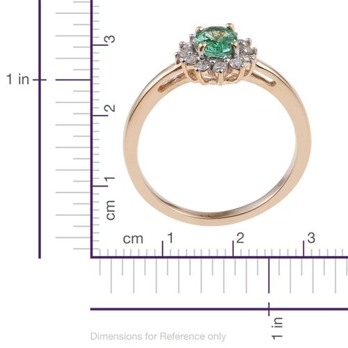 9K Yellow Gold 1 Carat Boyaca Colombian Emerald, Diamond Ring.