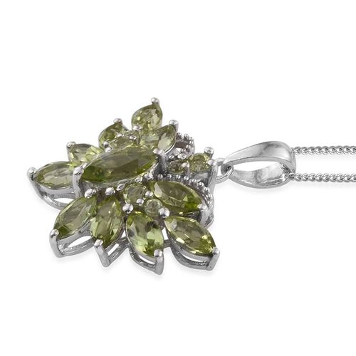 AA Hebei Peridot (Mrq 0.65 Ct) Butterfly Pendant With Chain in Platinum Overlay Sterling Silver 3.750 Ct.