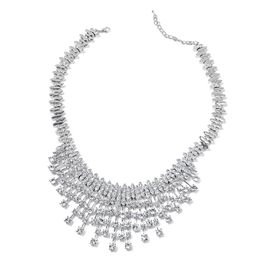 Diamond Colour Crystal Waterfall Necklace (Size 18) in Silver Tone