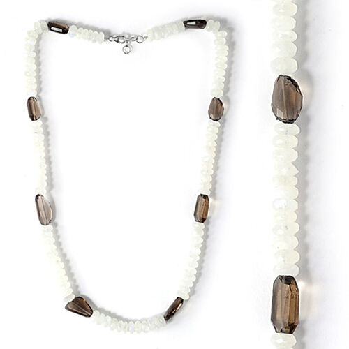 Rainbow Moonstone, Smoky Quartz Sterling Silver Necklace 220.500 Ct.