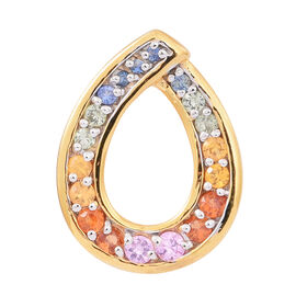 Rainbow Sapphire (Rnd) Pendant in 14K Gold Overlay Sterling Silver 1.500 Ct.