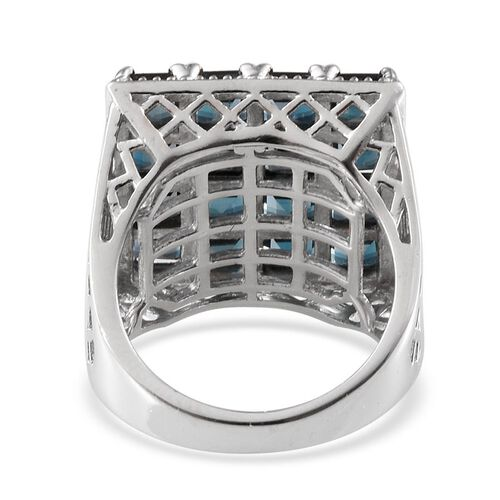 London Blue Topaz (Sqr) Ring in Platinum Overlay Sterling Silver 6.750 Ct.