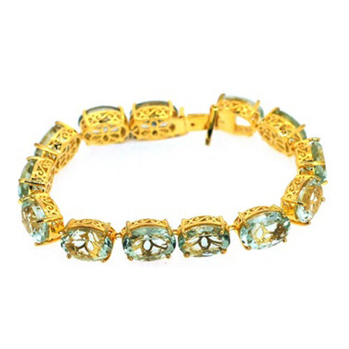 Green Amethyst (Ovl) Bracelet in 14K Gold Overlay Sterling Silver (Size 7.5) 70.000 Ct.