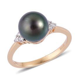 ILIANA 18K Y Gold Tahitian Pearl (Rnd 5.75 Ct), Diamond Ring 5.850 Ct.