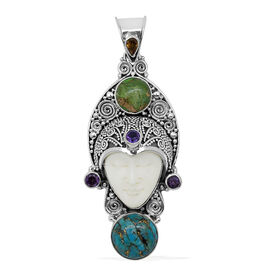 Princess Bali Collection OX Bone Carved Face (Ovl 12.00 Ct), Blue Mojave Turquoise, Green Mojave Turquoise, Amethyst and Yellow Sapphire Pendant in Sterling Silver 22.610 Ct.