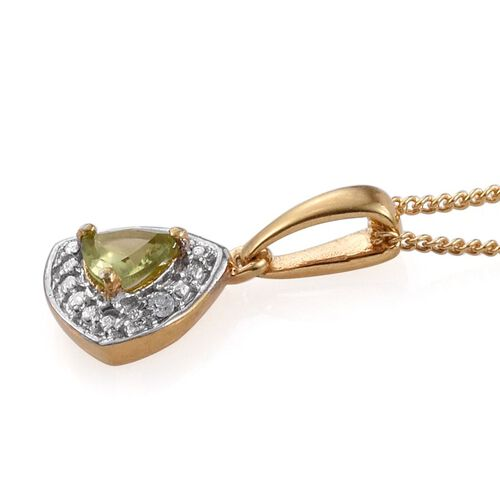 Hebei Peridot (Trl), Diamond Pendant with Chain and Lever Back Earrings in 14K Gold Overlay Sterling Silver 0.750 Ct.
