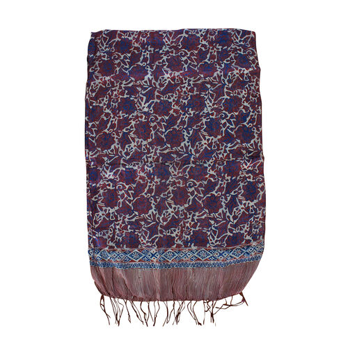 Purple Colour floral Print 100% Silk Scarf (Size 150x45 Cm)
