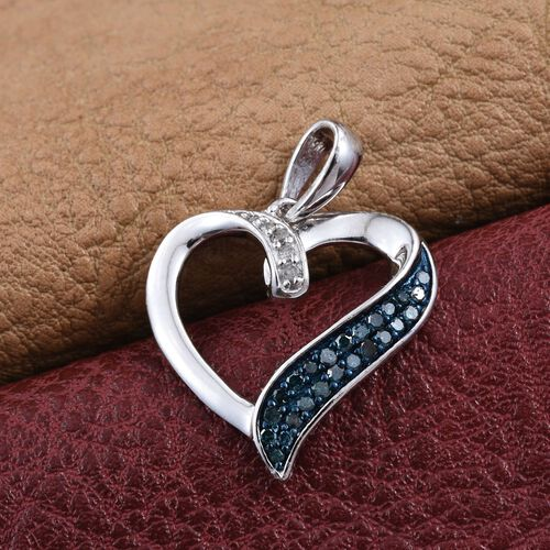 Blue Diamond, White Diamond Heart Pendant in Platinum Overlay Sterling Silver 0.265 Ct.