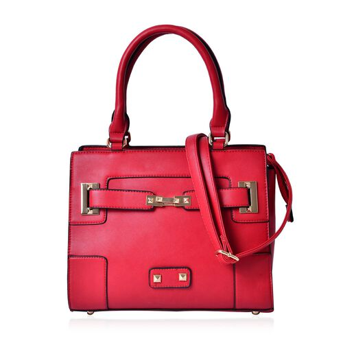 Set of 2 - Red Colour Large Handbag with Adjustable Shoulder Strap and Small Handbag (Size 33.5x29.5x12.5 Cm, 19.5x10 Cm)