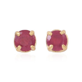 African Ruby (Rnd) Stud Earrings (with Push Back) in Yellow Gold Overlay Sterling Silver 1.000 Ct.