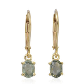 Green Sapphire (Ovl) Lever Back Earrings in 14K Gold Overlay Sterling Silver 1.250 Ct.