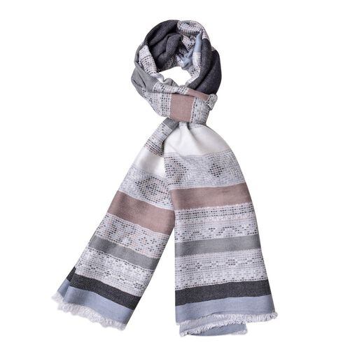 Grey, Black and Multi Colour Stripes Pattern Scarf with Fringes (Size 180X67 Cm)