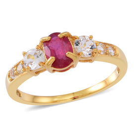 African Ruby (Ovl 1.15 Ct), White Topaz Ring in 14K Yellow Gold Overlay Sterling Silver 2.000 Ct.