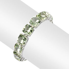Green Amethyst (Cush) Bracelet in Rhodium Plated Sterling Silver (Size 8) 100.000 Ct.