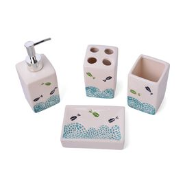 Black and Green Colour Sea Aniamal Pattern 1 Toothbrush Holder (Size 10x7 Cm), 1 Tumbler (Size 10x7 Cm), 1 Soap Dish (Size 13x9 Cm) and 1 Lotion Dispenser (Size 18x6 Cm)
