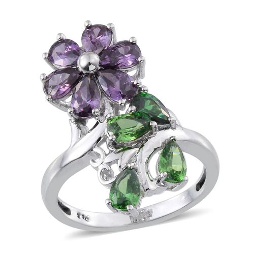 AAA Simulated Amethyst (Pear), Simulated Emerald Crossover Ring in ION Plated Platinum Bond