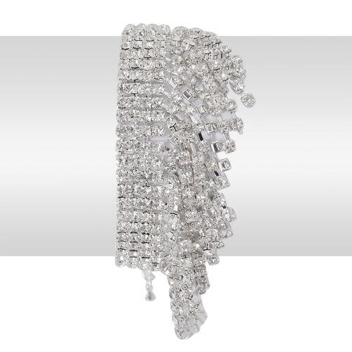 AAA White Austrian Crystal Bracelet in Silver Tone (Size 7.5)